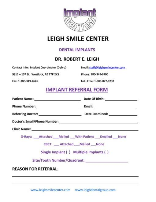 Implant Referral Form